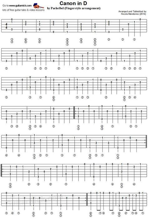 Canon In D By Pachelbel With Images Fingerstyle Guitar Guitar