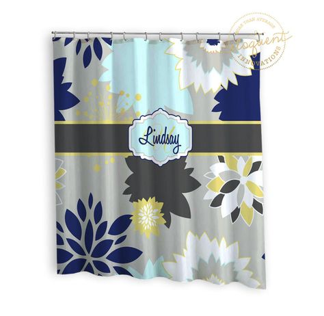 Dahlia Shower Curtains Grey Navy Yellow Floral Shower