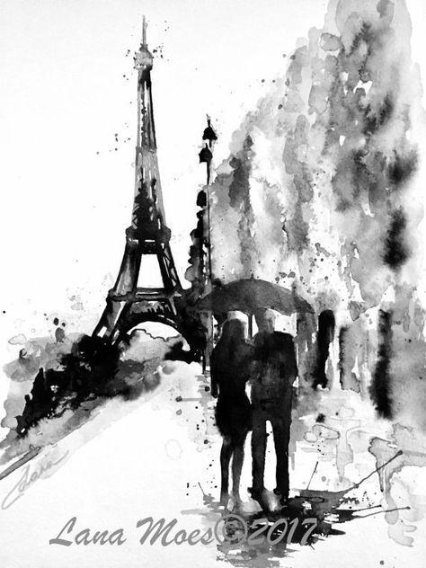 Romantic Paris Art Parisian Vacation Paris Watercolor Painting