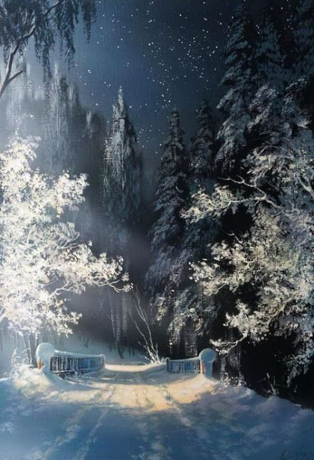 48 Ideas Painting Landscape Beautiful Forests Winter Landscape Winter Landscape Painting Winter Scenery