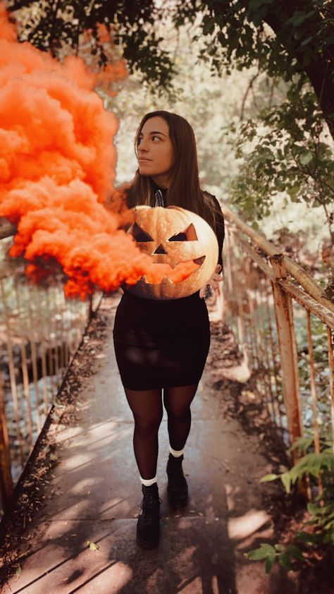 Halloween pumpkin smoke bombs are a thing, and they make for amazing photos to post on your socials 🎃 Click through to start creating with PicsArt stickers!