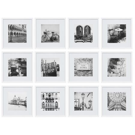 12 Piece 12x12 White Frame Kit Matted To 8 X8 Image 2 Of 5 Gallery Wall Frames Picture Frame Gallery Picture Frame Wall