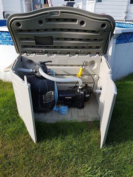 Ideas To Enclose Aboveground Pool Filter System Modern Design Swimming Pool Decks Diy Pool Pool Plumbing
