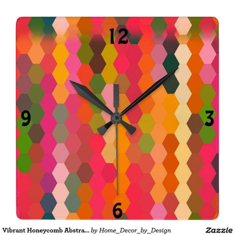 Vibrant Honeycomb Abstract Square Wallclock