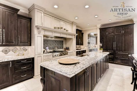 Stove & Hood Surround - North American Maple - Smoke Embers Paint with Coffee Glaze; Islands - Rustic Knotty Alder with Sable Stain - European Frameless