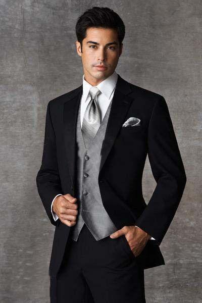 Black Two Ons Notch Lapel Groom Tuxedos Groomsmen Men Wedding Suits Prom Clothing Custom