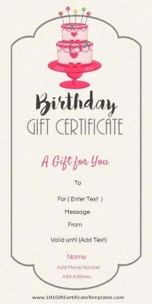 Birthday Gift Certificate Templates Vouchers Pinterest Gift