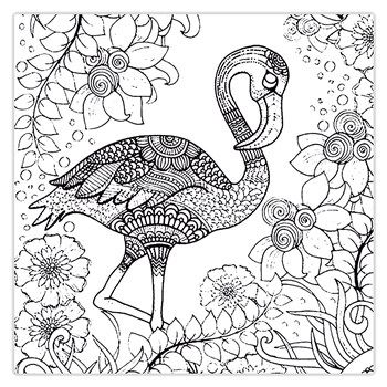 تابلو شاسی رنگ آمیزی زیزیپ مدل 1019p20 سایز 20x20 سانتی متر Zeezip 1019p20 Coloring Chassis Bird Coloring Pages Flamingo Coloring Page Animal Coloring Pages
