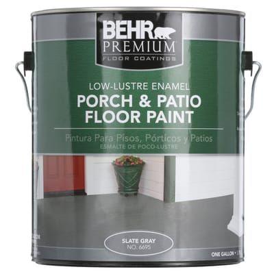 Behr Premium 1 Gal Pfc 63 Slate Gray Low Lustre Interior Exterior Porch And Patio Floor Paint 669501 The Painted Patio Patio Flooring Porch And Patio Paint