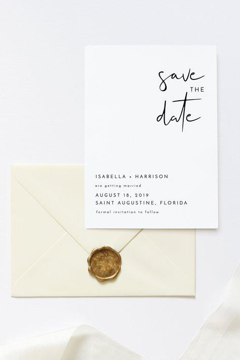 Adella - Modern Minimalist Save the Date, Wedding Save the Date, Electronic Save the Date Template, Save the Date, Save the Date Template