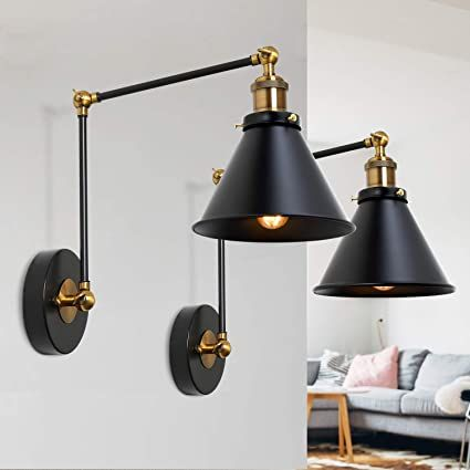 Swing Arm Wall Lamp Plug In Or Hardwire Sconces Wall Lighting Antique Brass And Black Matte Fini In 2020 Swing Arm Wall Lamps Wall Lights Wall Mounted Reading Lights