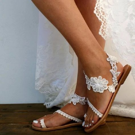 Item Type: Wedding Sandals, Bride Sandals Heel Height: Closure Type: Slip On Outsole Material: Rubber Upper Material: Microfiber Fashion Element: Flowers, Hollow, Lace Toe Shape: Open Toe Season: Summer Colors: White Beach Wedding Shoes, Wedding Shoes Bride, Wedding Flats, Lace Bride, Wedding Shoes For Bridesmaids, White Wedding Sandals, Bohemian Beach Wedding, Bride Shoes Flats, Bridesmaid Shoes Flat