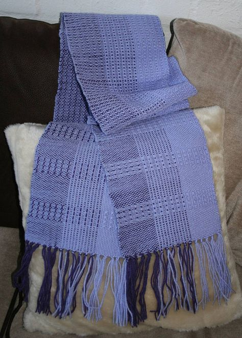 of knitting loom Items similar to Hand Woven Lilac, Purple and Blue Patterned and Textured Scarf on Etsy