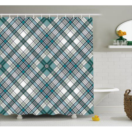 Checkered Shower Curtain Vintage Fashion English Country Style
