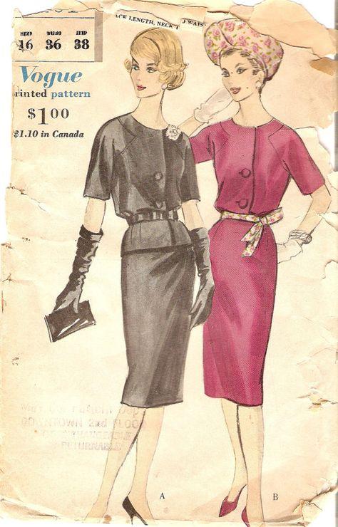 1960s Wiggle Dress Pattern or Two Piece Dress by CherryCorners, $18.00