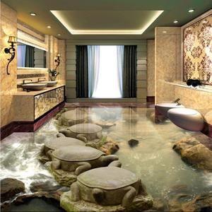 Free Shipping Stone Water Turtles Stone Bridge Living Room Bathroom 3d Flooring Waterproof Square Study Lobby Flooring Floor Murals 3d Flooring Floor Wallpaper