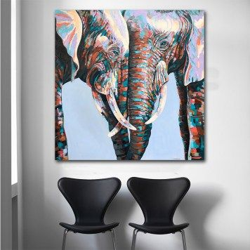 Goodecor Colorful African Elephant Canvas Painting Wall Art Animal Oil Paintings Large Size Wall Prints Posters For Living Room Elephant Canvas Elephant Painting Canvas Wall Art Canvas Painting