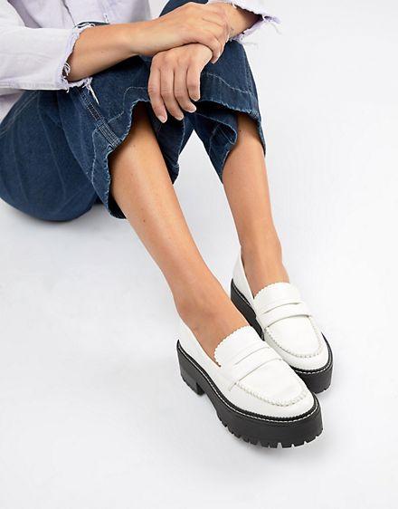 Bershka white chunky loafer | Chunky