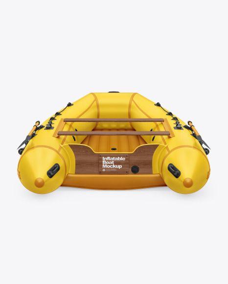 Inflatable Boat Mockup In Vehicle Mockups On Yellow Images Object Mockups In 2021 Inflatable Boat Mockup High Angle Shot