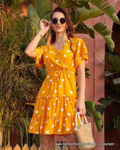 Kleider 2020 Damen Sommerkleid 2020 Kurz Mit Cascading Ruschen In Gelb Damenmode Gunstig Online Kaufen Mode Fash In 2020 Damen Mode Gunstige Damenmode Modestil