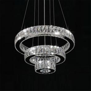 Modern Led Crystal Pendant Lamp Crystal Diamond Rings Lampara