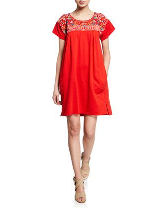 79675baa550 Samira Short-Sleeve Mini Dress with Embroidery by JWLA for Johnny Was at  Neiman Marcus