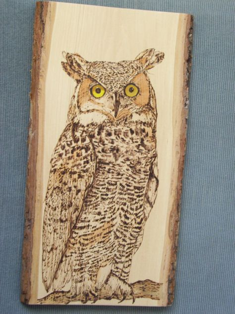 Great Horned Owl Wood Burning