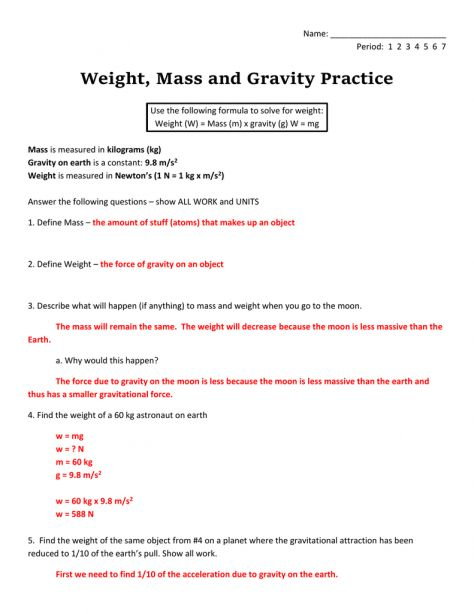 10 Physical Science Mass And Weight Worksheet Science With