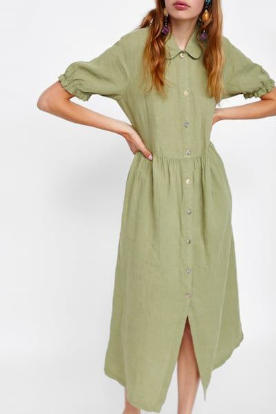 6be1511e6d Image 2 of LINEN DRESS from Zara | walk walk fashion baby | Dresses ...