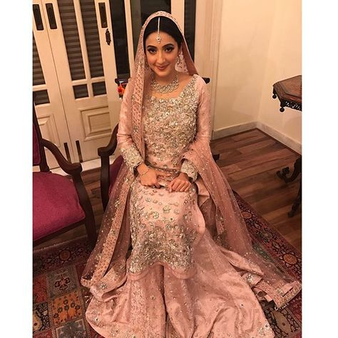 Maira Shaikh, looking like a princess on her in a stunning tea pink 💗💗 bridal and hair and makeup by Shamain👌🏼