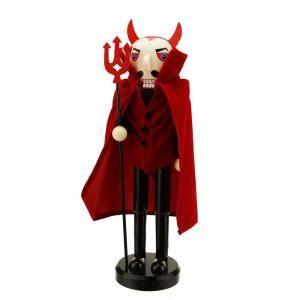 14 in. Red Devil Wooden Halloween Nutcracker
