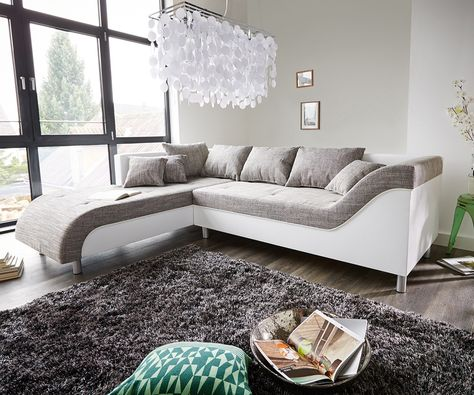 Hussensofa Noelia 240x145 cm Braun Couch mit Kissen | Möbel ...