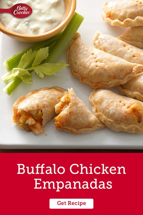 Kick your game day apps up a notch with this recipe for easy Buffalo Chicken Empanadas. Cut down your prep time with Pillsbury Refrigerated Pie Crusts and turn up the heat with Frank's RedHot Buffalo Wings Sauce and Old El Paso chopped green chiles. Cool it down with a serving of blue cheese dressing and celery. Even if your team doesn't win, your taste buds will.
