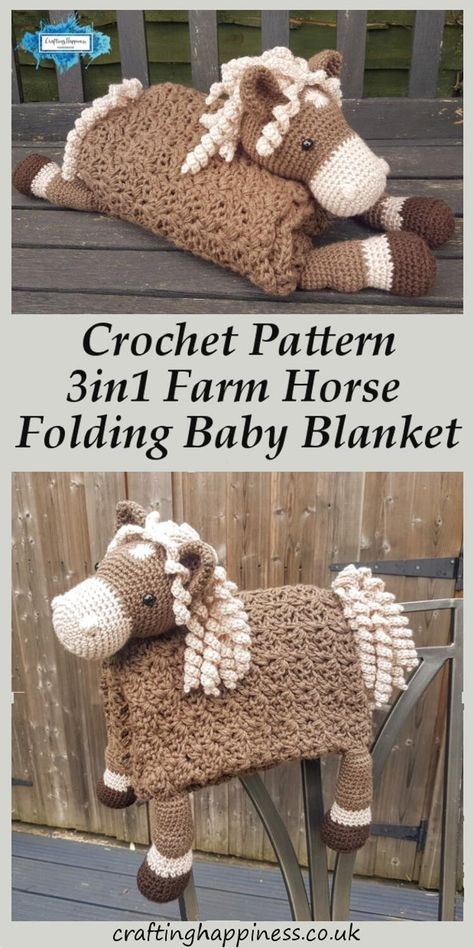 3in1 Folding Farm Horse Baby Blanket Crochet Pattern | Crafting Happiness