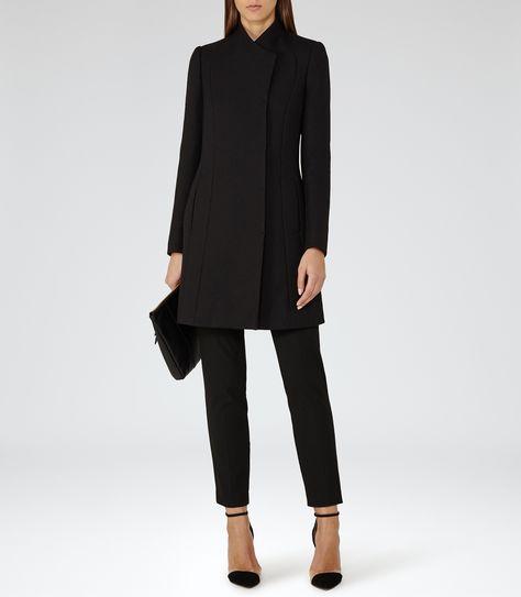 Womens Black High-neck Coat - Reiss Melania