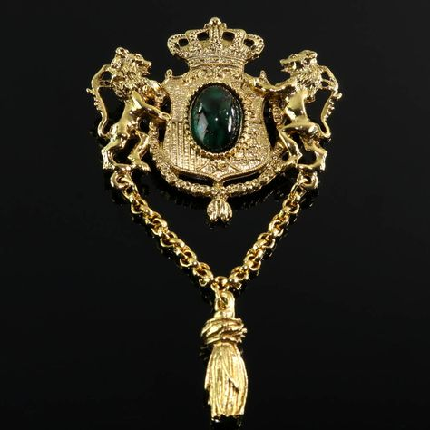 Knighthood Mens Handmade Emerald Bunch with Gold Leaf Lapel Pin//Brooch Green