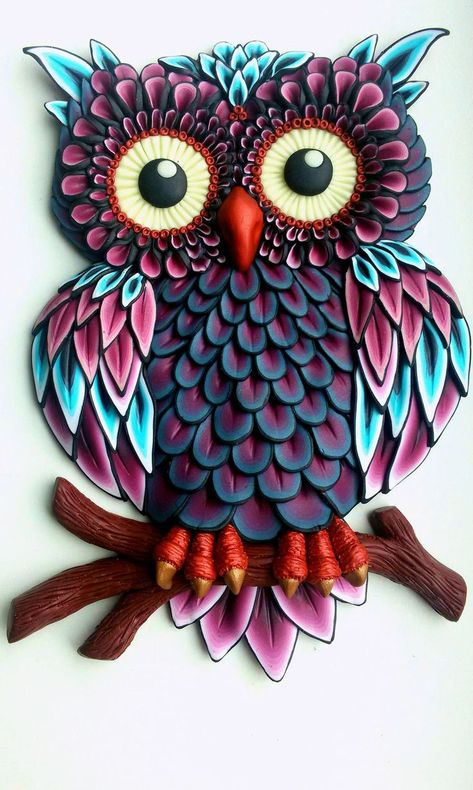 Quilled paper art colourful owl handmade artwork paper wall art home decor wall decor home decoration quilled art – ArtofitI am so looking forward to making this. Whoever submitted this pin, beautiful work, BlessingsOwl turquoise and purple.