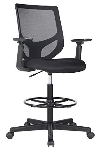 Drafting Chair Tall Office Chair For Standing Desk Drafting Mesh Table Chair With Adjustable Armrest And Foot Ring Drafting Chair Tall Office Chairs Standing Office Chair Tall office chairs with arms