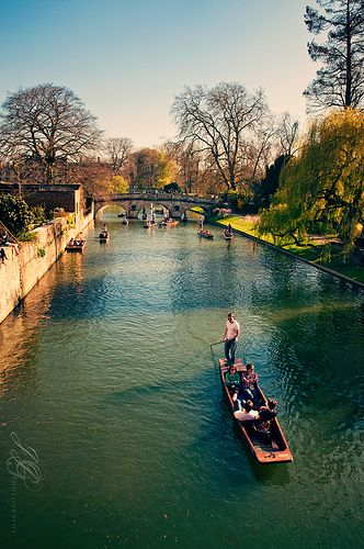 Cambridge, UK--punting on the Cam or one of its canals.  What a wonderful way to spend a summer day.