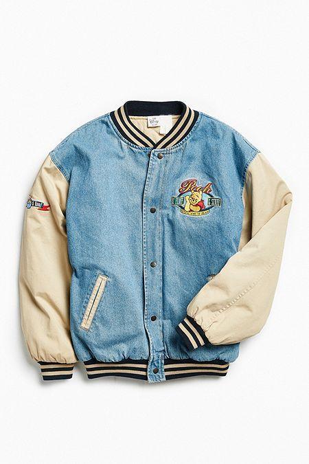Vintage Winnie The Pooh Denim Varsity Jacket Varsityjacketoutfit Vintage Winnie The Pooh Deni Vintage Jacket Outfit Bomber Jacket Vintage Vintage Clothing Men