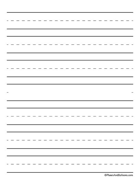 Handwriting Paper Printable (Free PDF) - Planes & Balloons