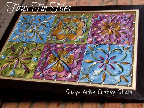 Faux Tin Tiles Tutorial- made from dollar store disposable aluminum cookie sheets! From Suzy's Artsy Craftsy Sitcom