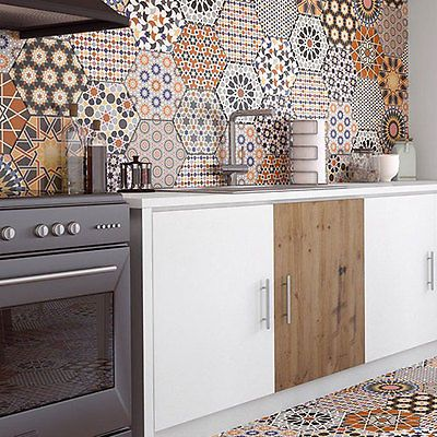 Istanbal-Hexagon-Multi-Colour-Patchwork-Victorian-Porcelain-WALL-amp-FLOOR-TILES