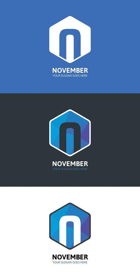 Hexagon November Logo - Letter N