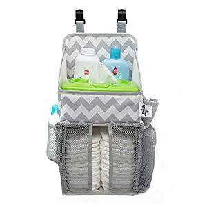 Playard Diaper Caddy And Nursery Organizer For Newborn Baby Essentials Chevron Pattern Grey And White Baby Accessory Organizer By California Home Goods In 2020 Diaper Caddy Baby Essentials Newborn Nursery Organization