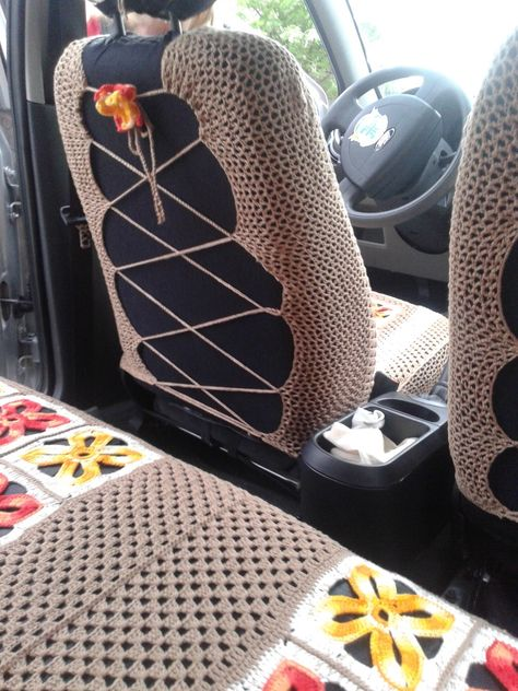 Chairs For Farmhouse Table Car Interior Design, Car Interior Decor, Car Interior Accessories, Cute Car Accessories, Hippie Car, Crochet Car, Car Seat Cover Sets, Seat Covers, Girly Car