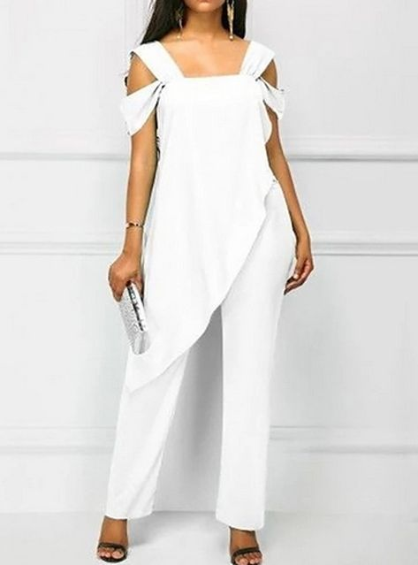 Overlay Embellished Wide Strap White Jumpsuit – outfit of the day.