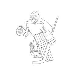 Hockey Player Goalie Pen Drawing Isolated Vector Outline Illustration Line Art Ice Hockey Affiliate Pen Outline Illustration Pen Drawing Drawings