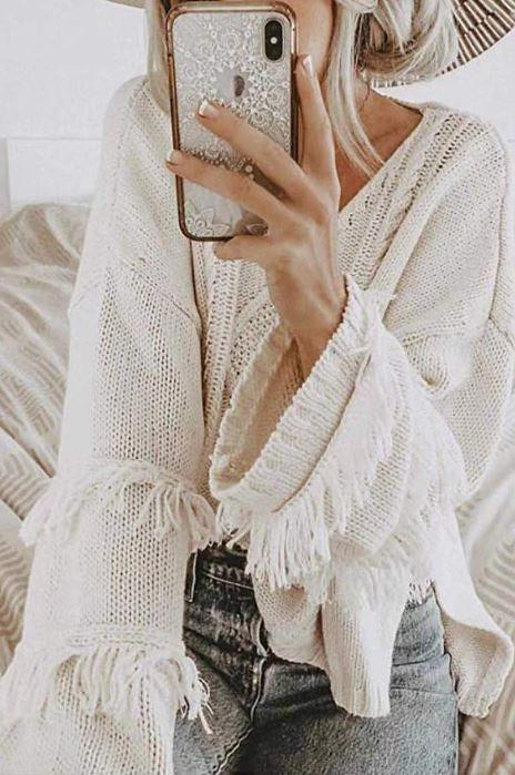 Womens Cute Cardigan Long Sleeve Fringe Tassel Knitted Solid Winter SweatersUK
