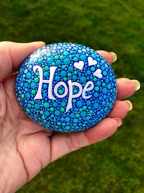 Items similar to Dotillismus Wortstein. Meditation or yoga stone. on Etsy Dotillism word stone. Mandala Painted Rocks, Painted Rocks Craft, Mandala Rocks, Hand Painted Rocks, Painted Pebbles, Stone Art Painting, Dot Art Painting, Pebble Painting, Pebble Art